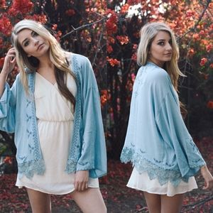 KYLEEN Boho chic Kimono - BLUE